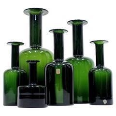 Otto Brauer, Holmegaard Vases, Set of 6, 1960s