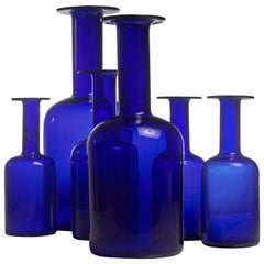 Otto Brauer Set of Six Blue Glass Vases for Holmegaard, Denmark