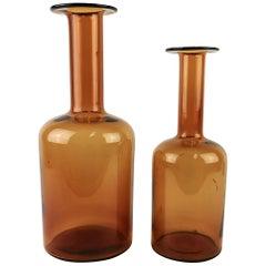 Otto Breuer for Holmegaard Glass Set of  2 Bottle Vases