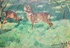 "Otto Dill, ""Deer"", 1918, oil painting, two grazing fawns."