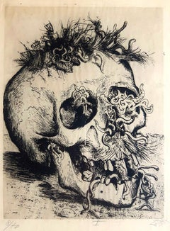 Skull - Etching and Drypoint by Otto Dix from Der Krieg Portfolio - 1924