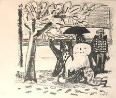 Snowman - Original Lithograph by O. Dix - 1948