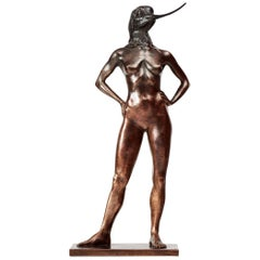 Otto du Plessis, Avo Woman, Patinated and Polished Bronze Sculpture