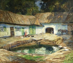 Alte Bauernhof - 20th Century Oil, Figure & Animals in Farmyard by O E Pippel