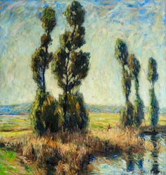 Summer on the River - Post Impressionist Oil, Landscape by Otto Eduard Pippel