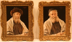 A pair of portraits: The Scholar and Rabbi in a Prayer Shawl by OTTO EICHINGER