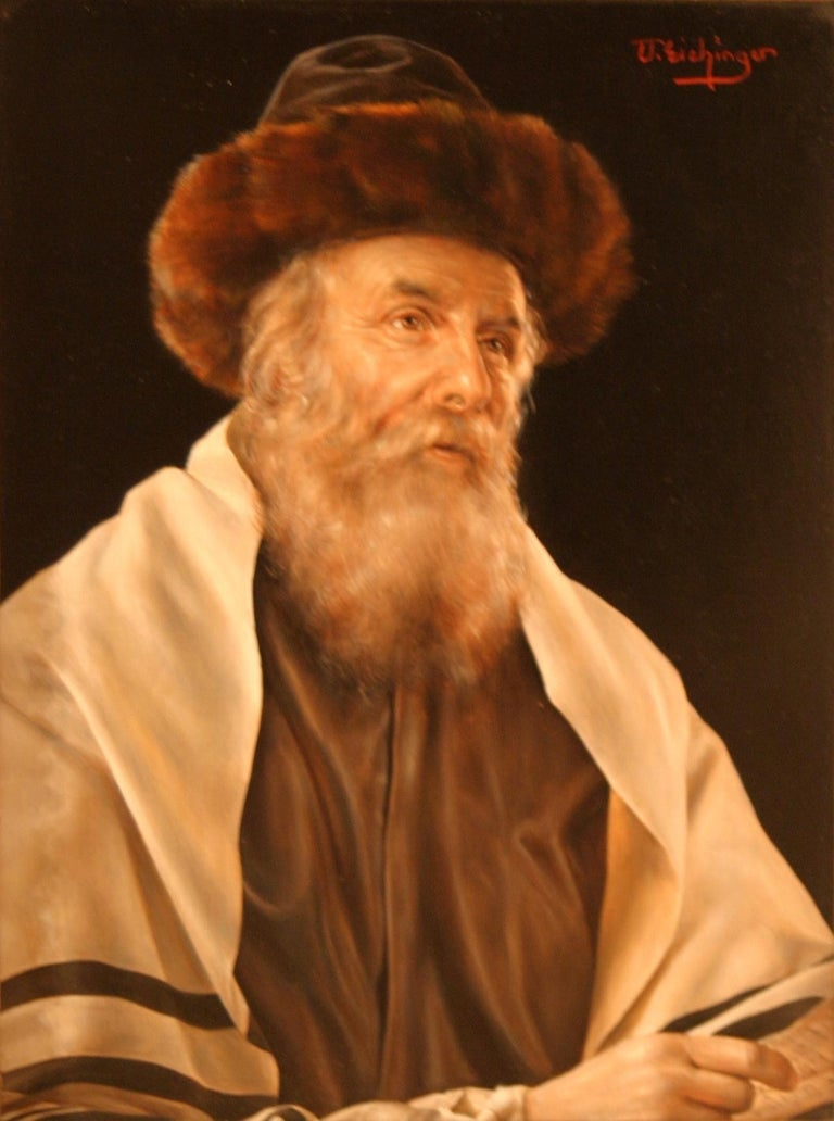 A pair of portraits: The Scholar and Rabbi in a Prayer Shawl - Painting by Otto Eichinger