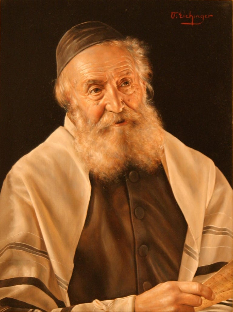 A pair of portraits: The Scholar and Rabbi in a Prayer Shawl - Academic Painting by Otto Eichinger
