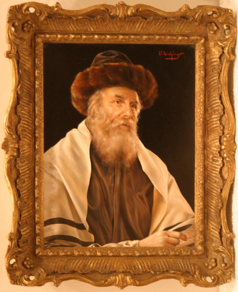 A pair of portraits: The Scholar and Rabbi in a Prayer Shawl - Brown Portrait Painting by Otto Eichinger