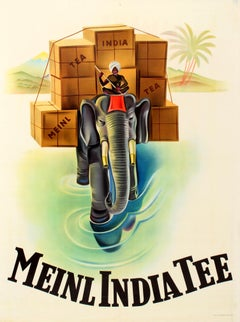 Original Vintage Tea Drink Advertising Poster For Meinl India Tee Ft. Elephant