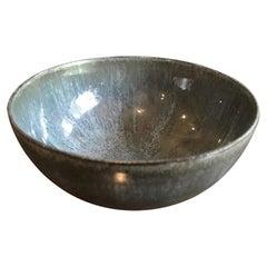 Otto & Gertrud Natzler Dark Blue Green Glazed Footed Bowl with Original Label