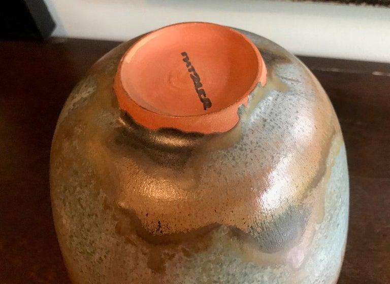 Earthenware Otto & Gertrud Natzler Green Brown Glazed Midcentury Large Footed Bowl Vase For Sale