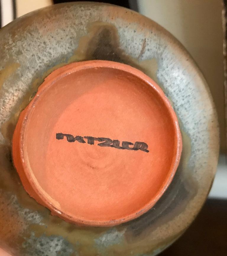 Otto & Gertrud Natzler Green Brown Glazed Midcentury Large Footed Bowl Vase For Sale 1