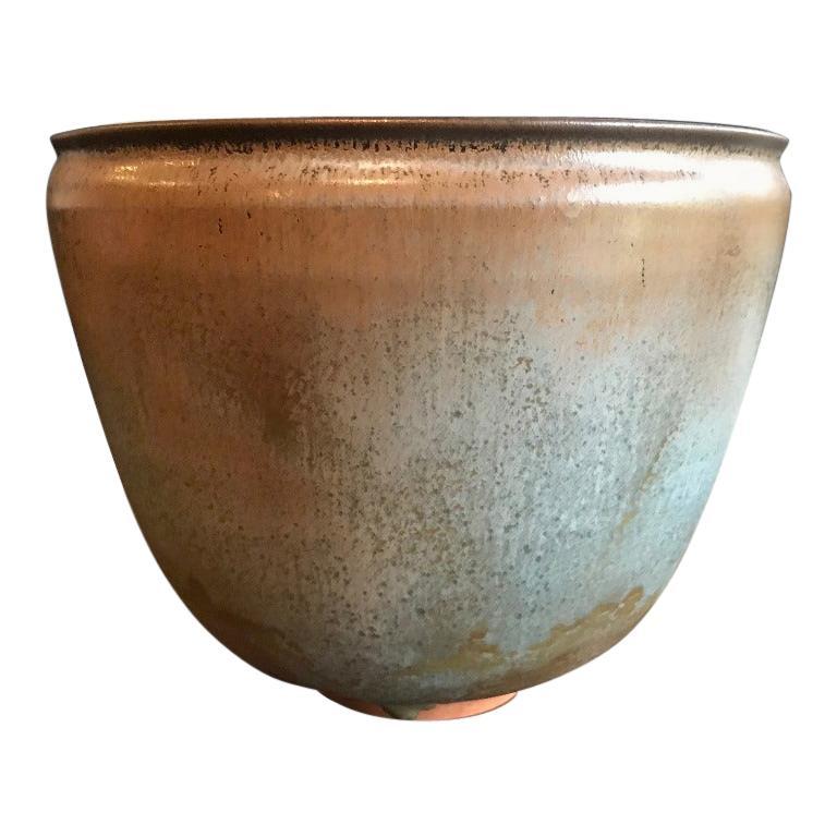 Otto & Gertrud Natzler Green Brown Glazed Midcentury Large Footed Bowl Vase For Sale
