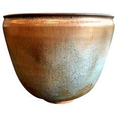 Otto & Gertrud Natzler Green Brown Glazed Midcentury Large Footed Bowl Vase