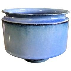 Otto & Gertrud Natzler Light Blue Glazed Footed Bowl with Original Label, 1962
