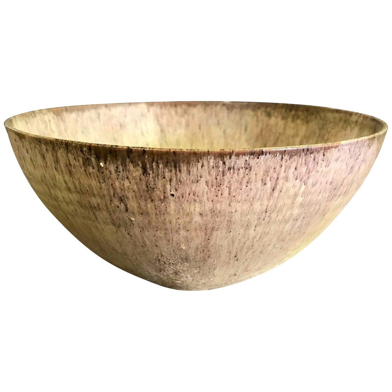Otto & Gertrud Natzler Signed Early Volcanic Glazed Midcentury Large Bowl, 1936