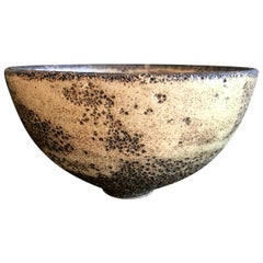 Otto and Gertrud Natzler Volcanic Crater Glazed Midcentury Large Footed Bowl