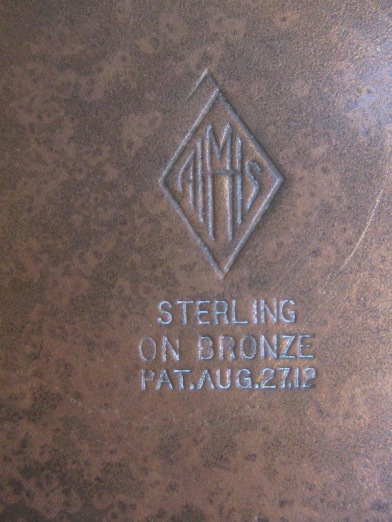 Otto Heintz Sterling on Bronze Burroughs Advertising Detroit Nesting Ashtray Set For Sale 6