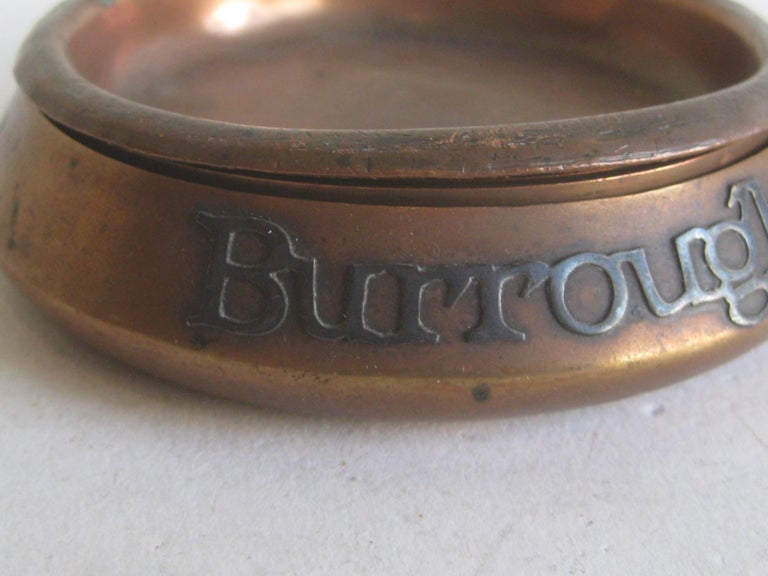 Otto Heintz Sterling on Bronze Burroughs Advertising Detroit Nesting Ashtray Set In Good Condition For Sale In San Diego, CA