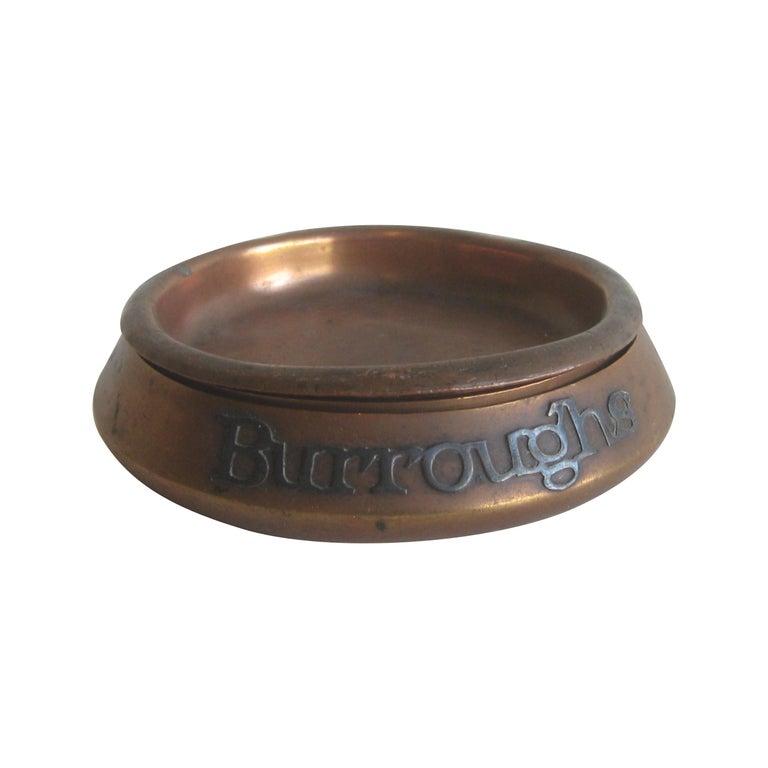 Otto Heintz Sterling on Bronze Burroughs Advertising Detroit Nesting Ashtray Set For Sale