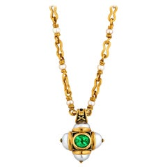 Otto Jakob Lalibela Emerald Keshi Pearl Enameled Gold Cross Pendant Necklace