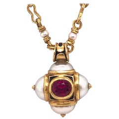 Otto Jakob Lalibela Emerald Keshi Pearl Ruby Gold Cross Pendant Necklace