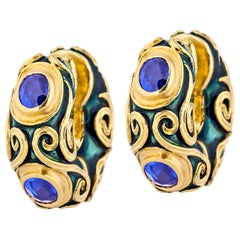 Otto Jakob Maori Sapphire Enameled Gold Earrings