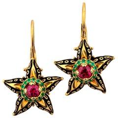 """Otto Jakob """"Stapelia"""" Ruby Emerald Enamel Gold Floral Drop Earrings"""