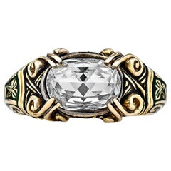 Otto Jakob Vintage Diamond Gold Enamel Ring