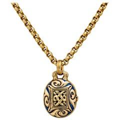 "Otto Jakob Vintage Gold and Enamel ""Kalimantan"" Locket Pendant"