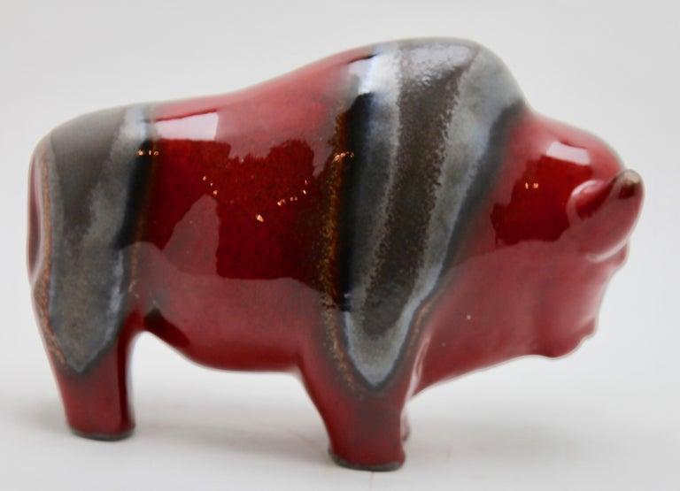 Otto Keramiek and Carstens Tönnieshof, Buffalo Figurine, Vase with Basalt Decor For Sale 2