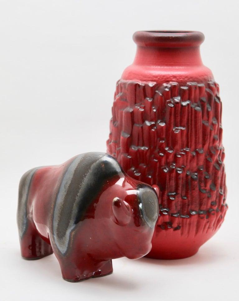 Glazed Otto Keramiek and Carstens Tönnieshof, Buffalo Figurine, Vase with Basalt Decor For Sale