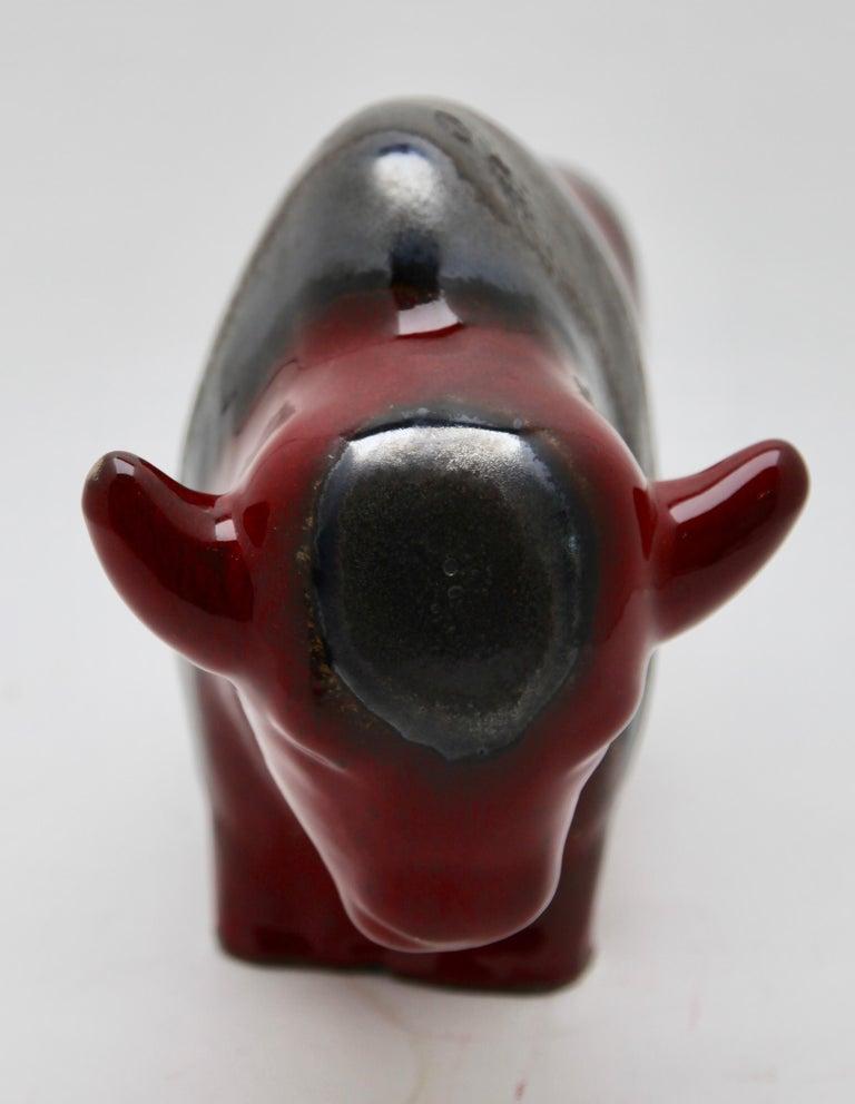 Otto Keramiek and Carstens Tönnieshof, Buffalo Figurine, Vase with Basalt Decor For Sale 1