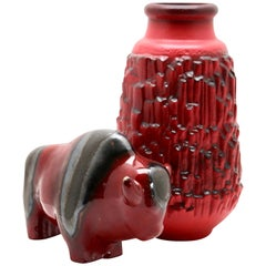 Otto Keramiek and Carstens Tönnieshof, Buffalo Figurine, Vase with Basalt Decor