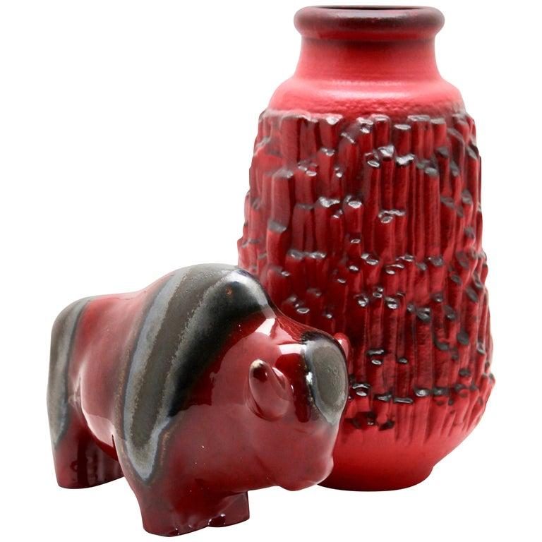 Otto Keramiek and Carstens Tönnieshof, Buffalo Figurine, Vase with Basalt Decor For Sale