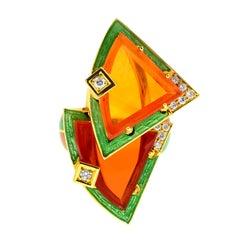 Otto Klein Fire Opal Diamond Enamel Gold Ring