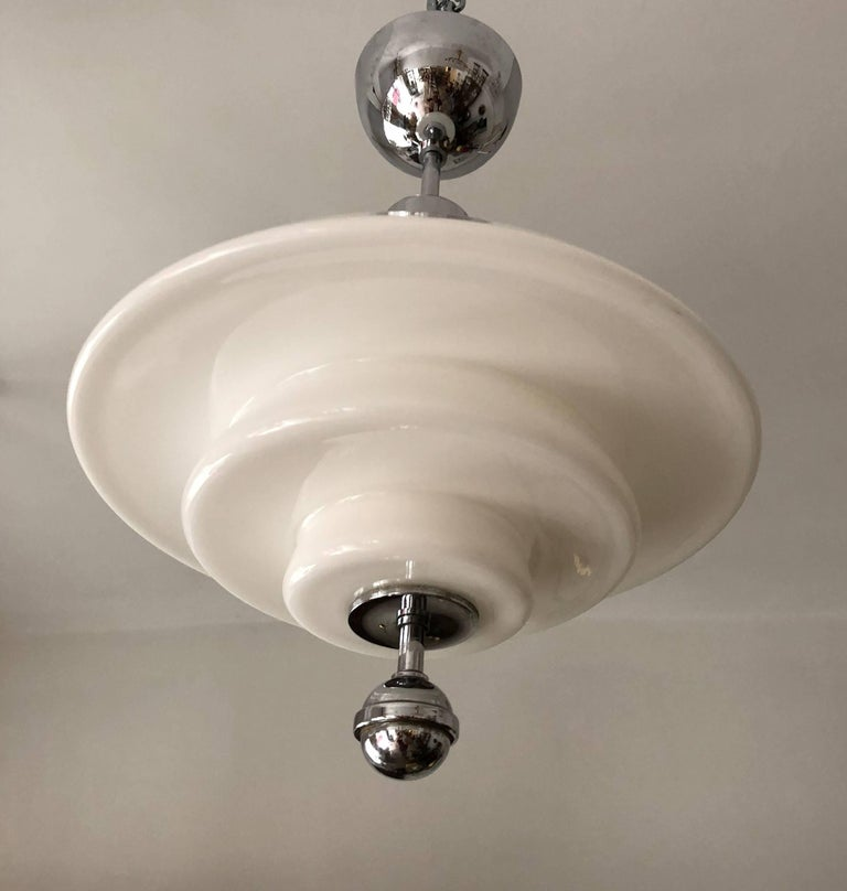 Otto Muller Style Bauhaus Opaline Glass Pendant Lamp In Excellent Condition For Sale In Vienna, AT