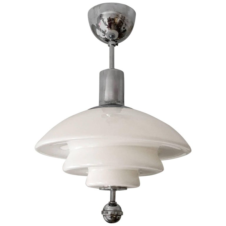 Otto Muller Style Bauhaus Opaline Glass Pendant Lamp For Sale