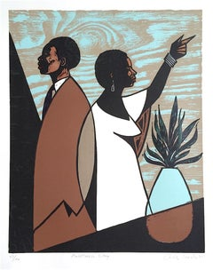 ANOTHER DAY Signed Woodcut, Modern Portrait, Black Couple, Brown, Blue, Beige