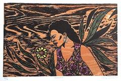 FLOWERS Signed Woodcut, Black Female Portrait, Hoop Earrings, Floral Print Dress