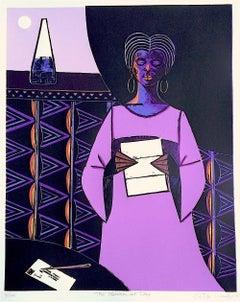 THE BREAK OF DAY Signed Woodcut, Black Female Portrait, Woman Reading Letter