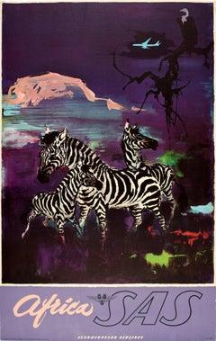 Original Vintage Travel Poster Africa SAS Scandinavian Airlines Zebra Mountain