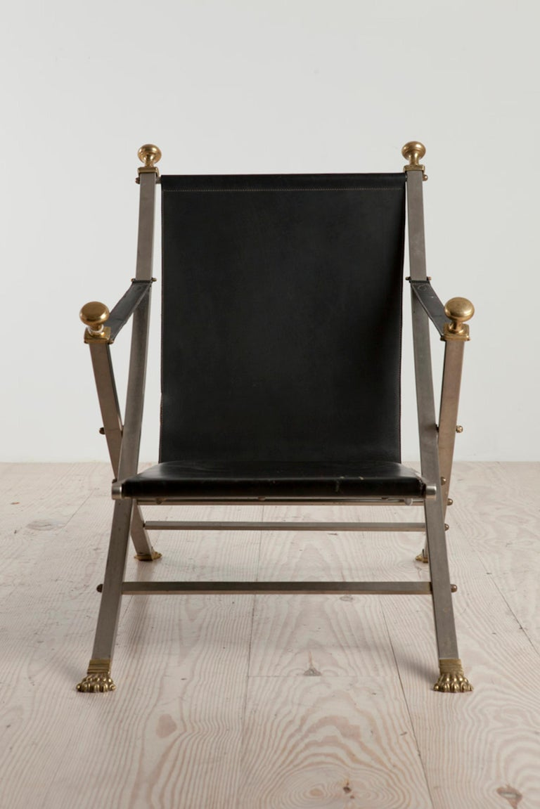 Mid-Century Modern Otto Parzinger, Campaign Chair, Manufactured by Maison Jansen, circa 1970 For Sale
