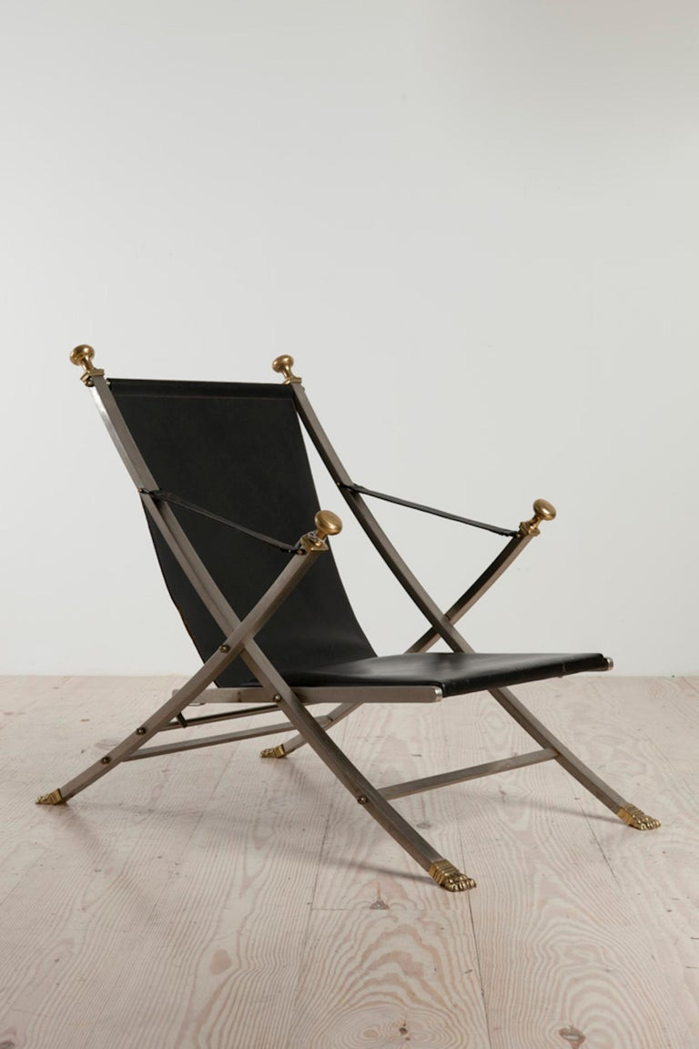 Bronze Otto Parzinger, Campaign Chair, Manufactured by Maison Jansen, circa 1970 For Sale