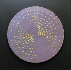 Raster sun, 2009, clay, gold glaze, round object, Group Zero, light