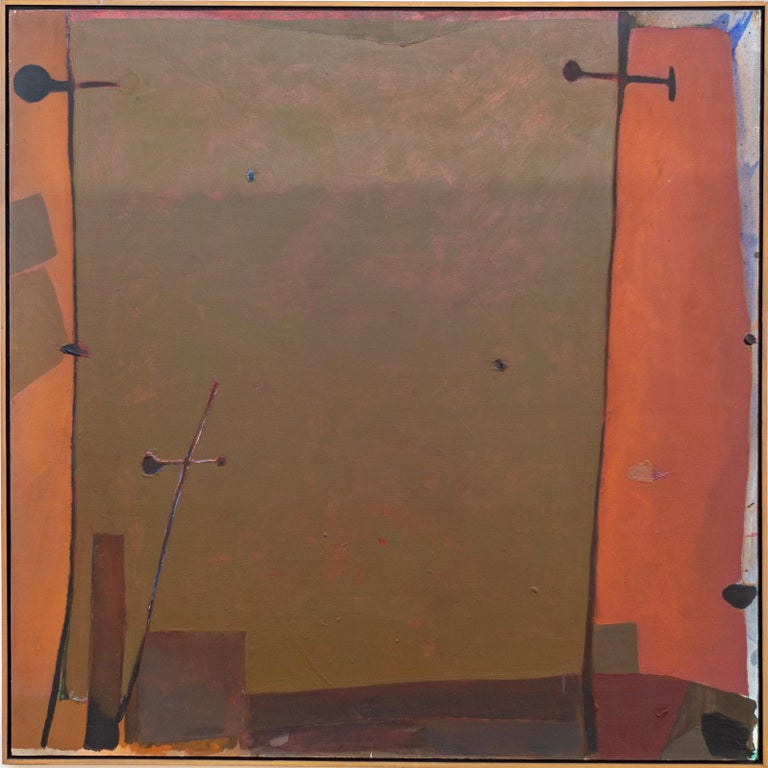 Otto Rogers Landscape Painting - Orange Edge - Olive-green rectangle surrounded in oranges, and reds