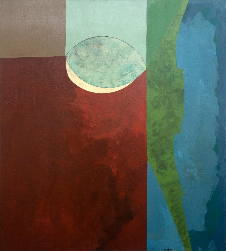 A leaf shape is poised within balanced passages of red, green and blue in this masterful acrylic by Otto Rogers. Painted in 2018, this vibrant yet contemplative composition is an exploration of the theme of motion in stillness using modernist forms.