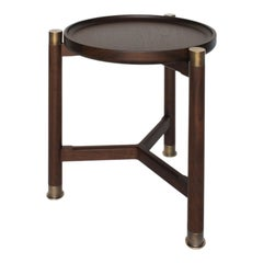 Otto Round Accent Table in Medium Walnut with Antique Brass Fittings