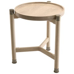 Otto Round Accent Table in Oak with Antique Brass Fittings